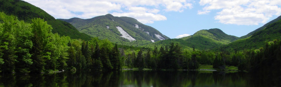 adirondack lake and mountains in summer